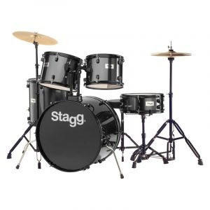 "Stagg TIM122B 5-Piece 22"" Drum Set with Cymbals, Hardware and Throne, Black - FREE DELIVERY"