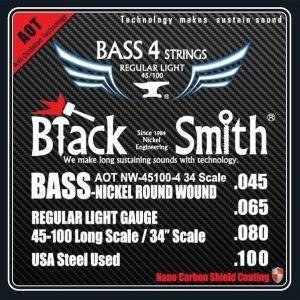 BlackSmith ANW45100434 Nano-Carbon Shield AOT Coated Nickel Round Wound Electric Bass Strings, Regular Light - FREE DELIVERY