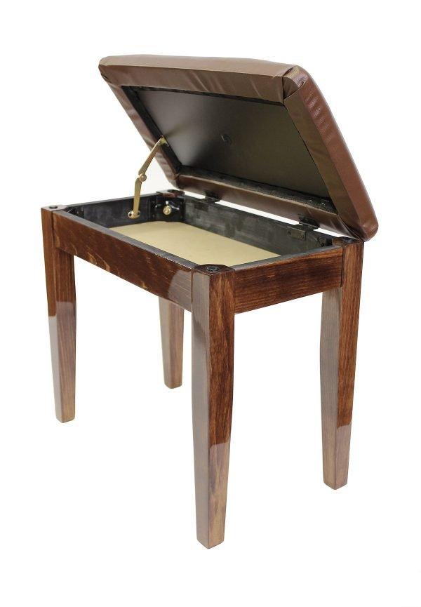 """""""CODA"""" Piano Stool with Book Storage - Polished Walnut"""