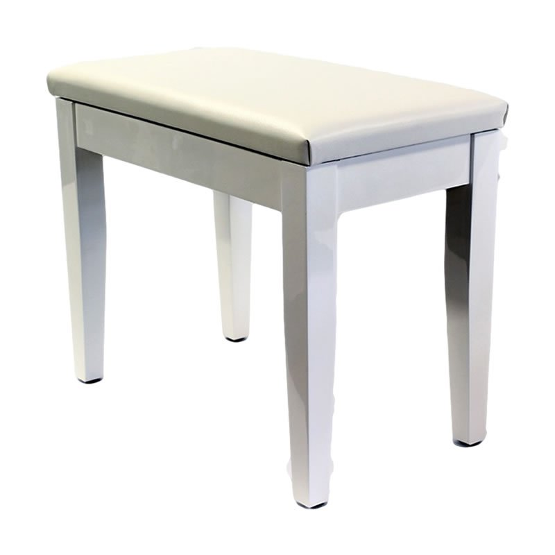 """CODA"" Piano Stool with Book Storage - Polished White"