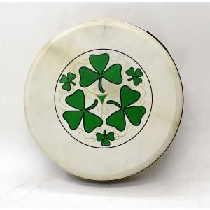 "Koda 16""x4"" Black Tuneable Bodhran with SHAMROCK Design"