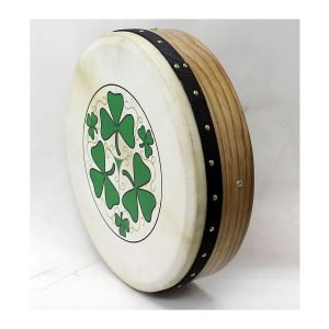 "Koda 16""x4"" Ashwood Tuneable Bodhran with SHAMROCK Design"