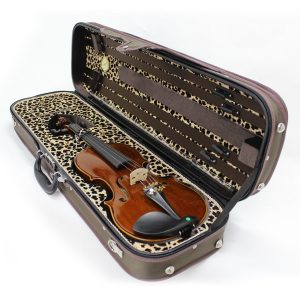 Koda HDVC0714 Wooden 4/4 Size Violin Case with Animal Print Interior, Brown - FREE DELIVERY