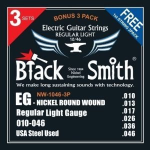 BlackSmith NW10463P, Nickel Round Wound Electric Guitar Strings, 3 SET PACK  - FREE DELIVERY