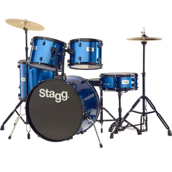 """Stagg TIM122B 5-Piece 22"""" Drum Set with Cymbals, Hardware and Throne, Blue - FREE DELIVERY"""