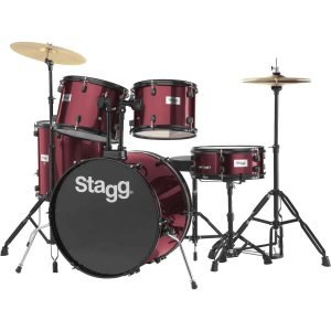 "Stagg TIM122B 5-Piece 22"" Drum Set with Cymbals, Hardware and Throne, Red - FREE DELIVERY"