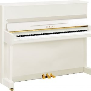 Yamaha P116 Upright Piano, Polished White with Chrome Fittings - Free Delivery - PRICE MATCH GUARANTEE