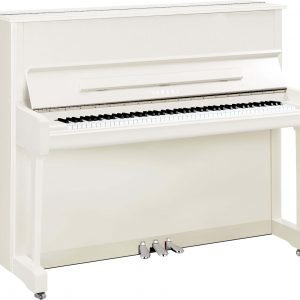Yamaha P121M Upright Piano, Polished White with Chrome Fittings - Free Delivery - PRICE MATCH GUARANTEE